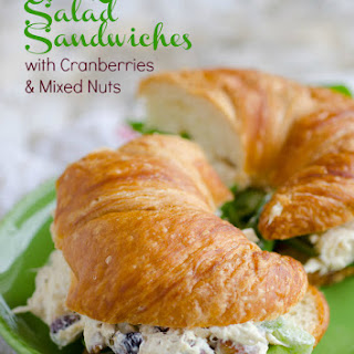 Chicken Salad Sandwiches with Cranberries and Mixed Nuts.