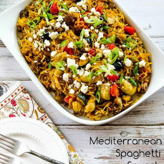 Mediterranean Spaghetti Squash Sauteed with Vegetables and Feta (Low-Carb, Gluten-Free).