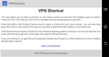 Screenshot of VPN Shortcut (free, no ads)