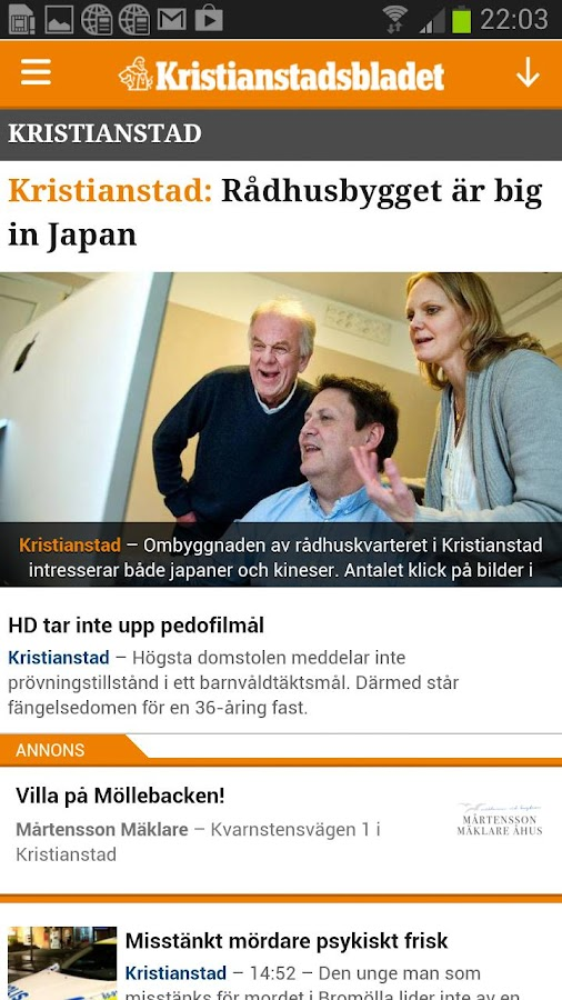 Kristianstadsbladet - screenshot
