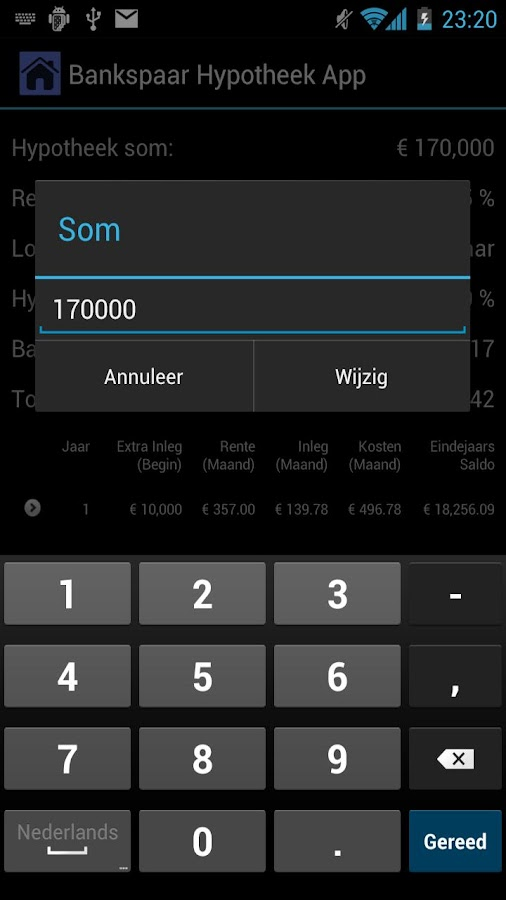 Bankspaar Hypotheek App - screenshot