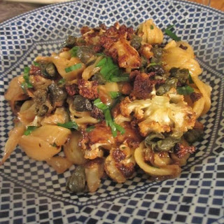 Roasted Cauliflower and Cabbage Pasta with Fried Capers and Cheddar.