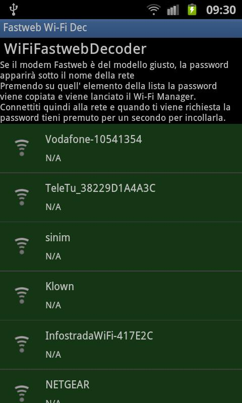 Fastweb Wi-Fi Decripter - screenshot