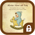 Baby with wooden horse theme icon