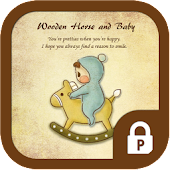 Baby with wooden horse theme