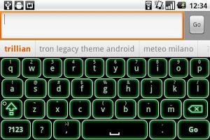 Screenshot of Green Glow Code Keyboard Skin