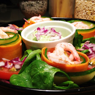 Shrimp Salad with Lime Garlic Avocado Dip