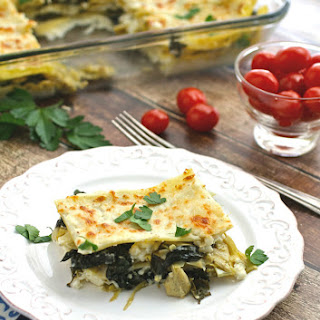 Meatless Monday Spinach, Artichoke and Kale Lasagna.