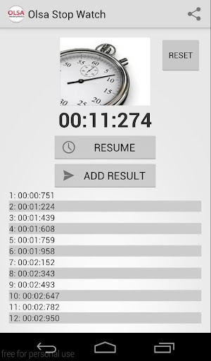 StopWatch with share to email.