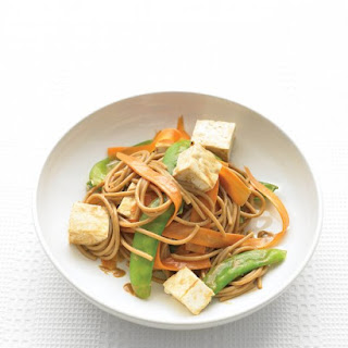 Whole-Wheat Spaghetti with Vegetables and Peanut Sauce.