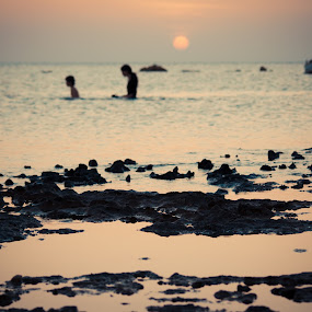 sunset swim by Boutheina Ferid - Landscapes Beaches ( beache, silhouette, sunset, swim, mellita, djerba )