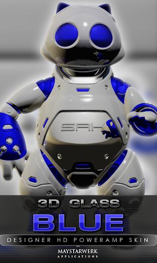 poweramp skin blue 3d