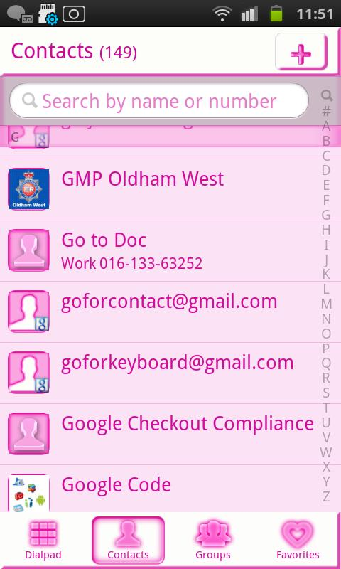 Pink Chill Go Contacts - screenshot