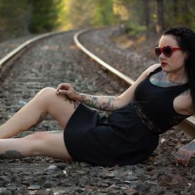 Tattoo girl by Tommy Johansen - People Portraits of Women ( girl, railway, tattoo, sunglasses, portrait )