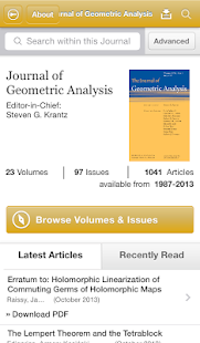Journal of Geometric Analysis- screenshot thumbnail