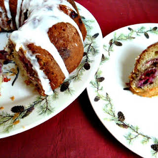 Cranberry Orange Walnut Coffee Cake with Greek Yogurt.