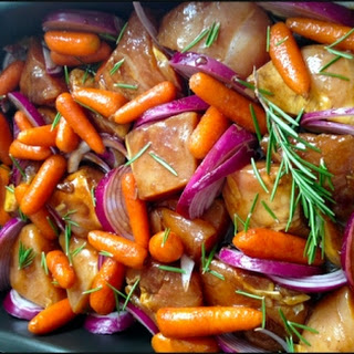 Roasted Chicken with Rosemary and Baby Carrots.