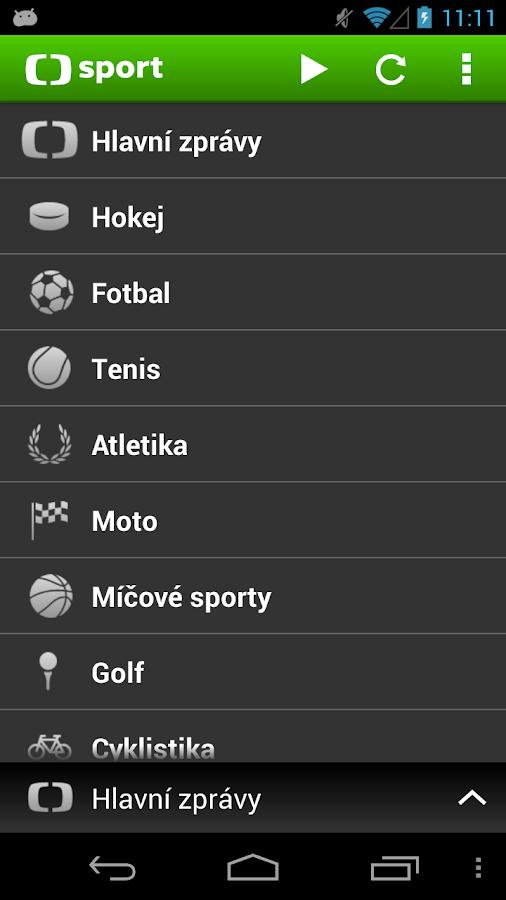 ČT sport - screenshot