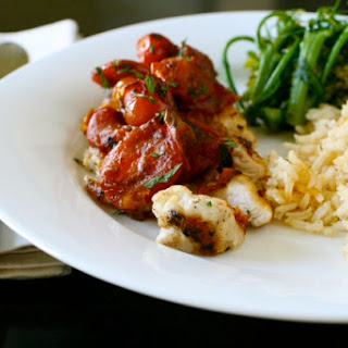 Chicken with Tomato Herb Pan Sauce.