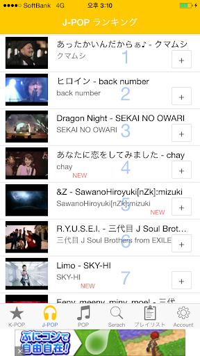 YouTube音楽ランキングJ-POP K-POP