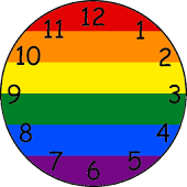 Rainbow, gay and lesbian clock