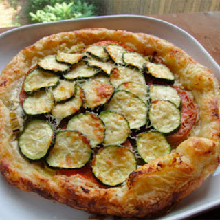 Tomato, Zucchini, and Leek Galette with Roasted Garlic Goat Cheese