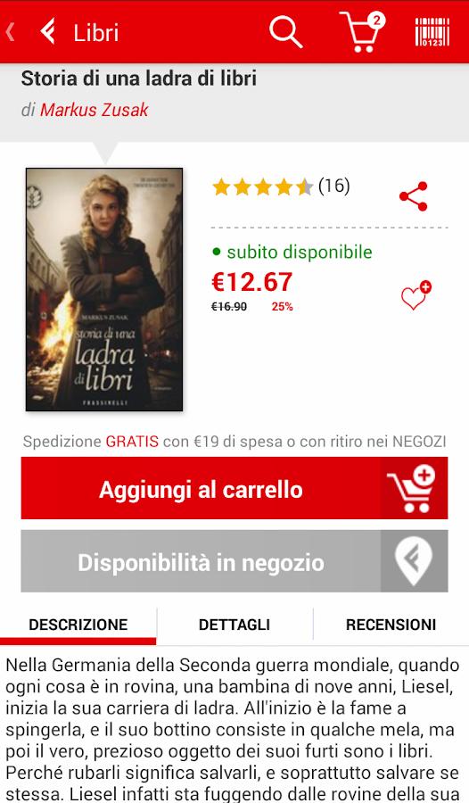 la Feltrinelli mobile - screenshot