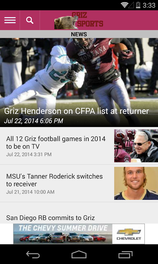 GrizSports- screenshot