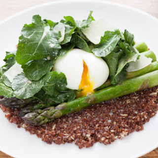 Soft-Boiled Eggs over Risotto-Style Red Quinoa with Sautéed Asparagus.