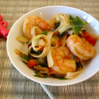 Shrimp & Rice Noodle Stir Fry.