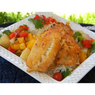 LaWanna's Mango Salsa on Tilapia Fillets.