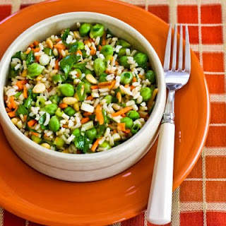 Brown Rice and Green Garbanzo Salad with Carrots, Parsley, and Pine Nuts.