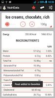 Screenshot of NutriData Nutrition & Calories
