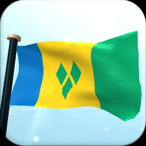 セントビンセントおよびグレナディーン諸島フラグ3D無料壁紙 個人化 LOGO-玩APPs