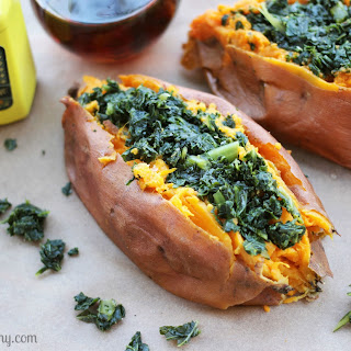 Kale Stuffed Sweet Potatoes.