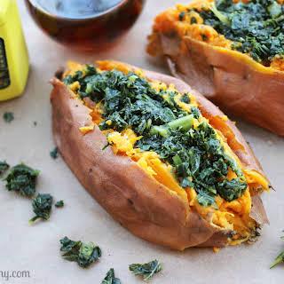 Kale Stuffed Sweet Potatoes.