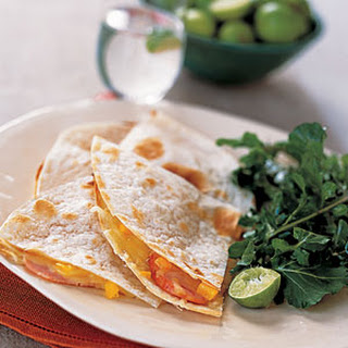 Canadian Bacon-and-Cheese Quesadillas with Arugula Salad