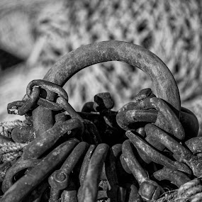Hardware by Jacek Steplewski - Artistic Objects Industrial Objects ( metal, chain, black and white, rust )