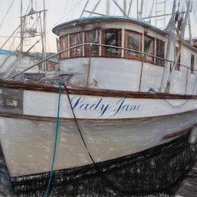Lady Jane by Glenn Miller - Drawing All Drawing ( pencil, sketch, oregon coast, marina, fishing boat )