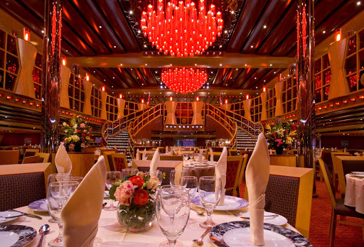 Carnival-Dream-Crimson-dining-hall - Dine on your choice of six main entrees at the Crimson, one of Carnival Dream's two main dining rooms.