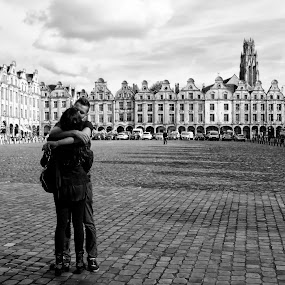 young lovers by Wendy Clee - People Couples ( black/white, arras, nikon d300, france, people,  )
