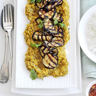 Sweet & Sour Lentil Dhal With Grilled Aubergine.