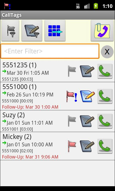 Call Log:  CallTags - screenshot
