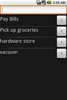 Screenshot of lists