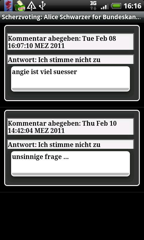 Sonntagsfrage - screenshot