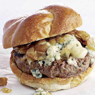 Beef Burgers with Blue Cheese and Caramelized Onions.