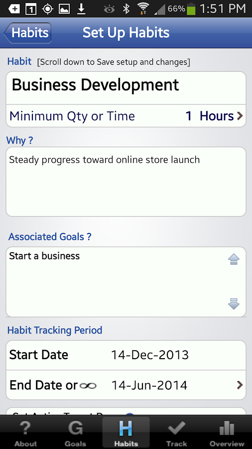 The Habit Factor® Goals,Habits- screenshot