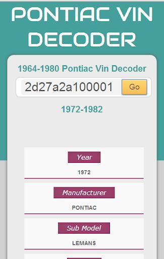 Pontiac Vin Decoder