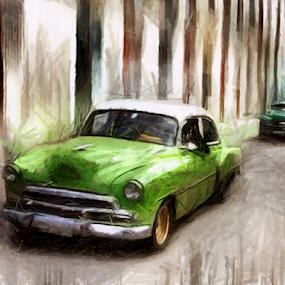 Street and Old Car in Cuba by Daliana Pacuraru - Mixed Media All Mixed Media ( car, daliana pacuraru, old car, cars, green, street, drawing, cuba,  )
