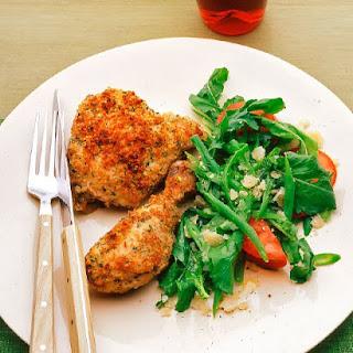 Baked Crisp Parmesan Romano Chicken.